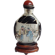 Art Deco Reverse Painted Chinese Snuff Bottle on Stand