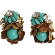 Miriam Haskell Signed Rhinestone And Faux Turquoise Earrings