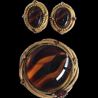 Tortoise Look Brooch And Earrings Set By Originals by Robert
