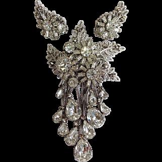 Rare DeMario Floral Design Dangling Rhinestone and Earrings Set