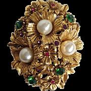 Florenza Faux Pearls Brooch Circa 1950's