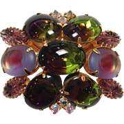 Prong Set Green and Purple Brooch 1960's