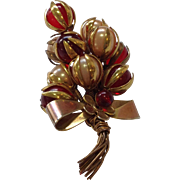 Corsage-style 1940s Holiday Brooch
