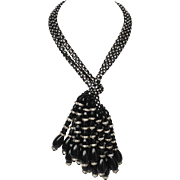 Dressy Black Lariet Necklace with Clear Rhinestones