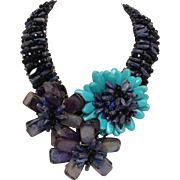 Amethyst Flower Necklace with Turquoise and Onyx Statement