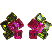 Ciner Hot Pink and Green Earrings