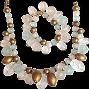 Molded Lucite Bead Necklace & Bracelet