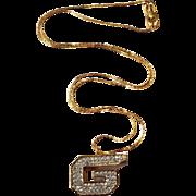 Givenchy Rhinestone G Whistle Necklace 1979