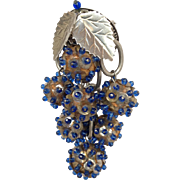 Blue  and SilverLeaves Dangling  Balls Brooch 1960's