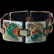 Moderne Copper Enamel Glass Link Bracelet 1950's