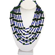Multi Strand Glass Necklace with Blue and Green Beads