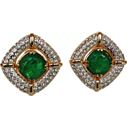 Large Rhinestone Gold and Green Clip-on Earrings