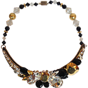 Wendy Gell Glitzy Choker in Black, Clear and Goldtones 14""