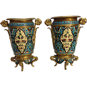 Pair French Champleve Enamel Vases Bronze Ormolu 19th c.