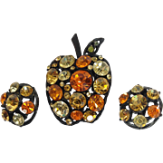 Apple Pin and Earrings Set with Large Rhinestones