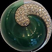 Art Deco Swirled Jade Color Brooch by Trifari Crown Mark