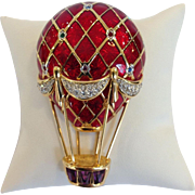 Swarovski Hot Air Balloon Pin in Red and Purple