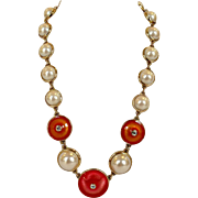 Guy Laroche Gold Faux Pearls Link Necklace with Enamel Discs