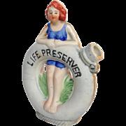 Humorous Flask of Bathing Beauty on Life Ring