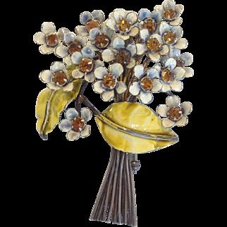 Sandor Floral Brooch Enamel Sterling 1960