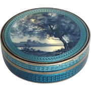 Scenic Guilloche Enamel Box France 19th c.