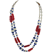 Hobe Necklace and Earring Set Beads with Ceramic Feathers