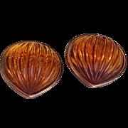 Yves Saint Laurent Amber Glass On Copper Earrings YSL