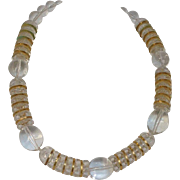 Lucite Ball Necklace with Gold-tone Metal Spacers
