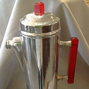 Moderne Chrome and Red Bakelite Cocktail Shaker