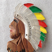 Lucite/Wood Indian Chief Pin - Rare!