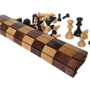 Traveling Wood Games Board & Chess Set - Circa 1810-20