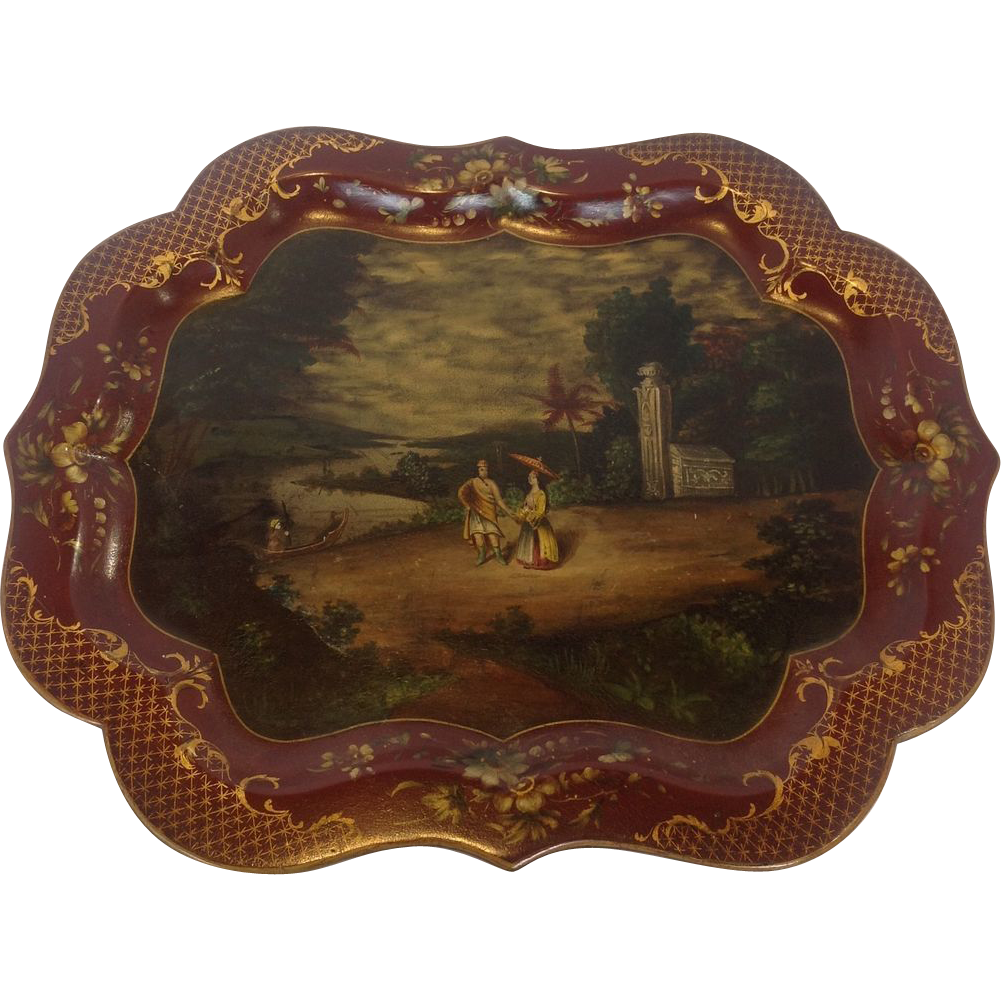 Scenic Papier Mache Tray, Mid 19th Century from antiquesofriveroaks on Ruby Lane