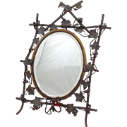 French Bronze Leaf Framed Beveled Mirror Late 19th C.