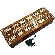 English Rosewood and Mother of Pearl Cribbage Set