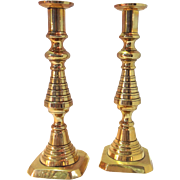 Pair of Brass Beehive Candlesticks late 19th century