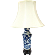 Vintage Chinese Blue Dragon Lamp