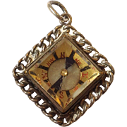 Compass Watch Fob With Chain Border Sterling
