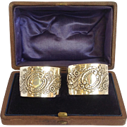 Pair of Boxed Napkin Rings English Sterling