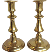 "Brass Push Up Candlesticks 7"" England 19th C."