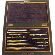 Drafting Set Rosewood Case 19th Century