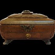 Regency Leather Work Box Lion Mounts c. 1830