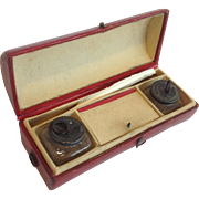 Leather Traveling Writing Case With Inkwells Early 19th C.