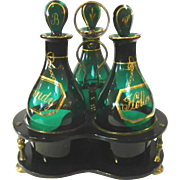 Tantalus with Bristol Green Decanters C. 1800