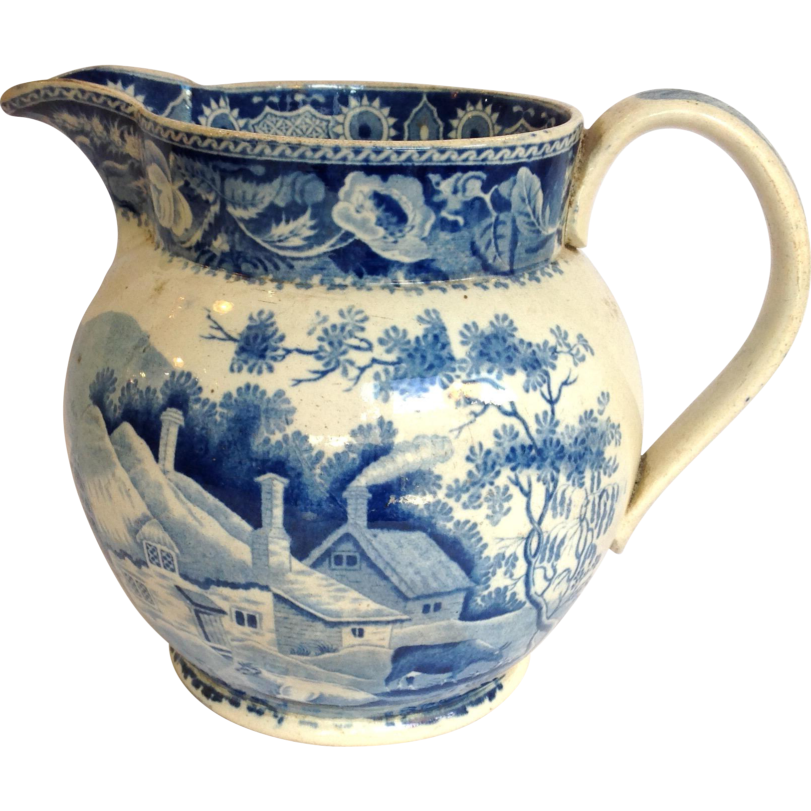 Minton Jug Transferware Blue And White 19th C. from antiquesofriveroaks on Ruby Lane