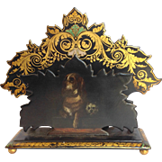 Dogs Letter Rack Paper Mache Impudence' and Dignity' 19th C.