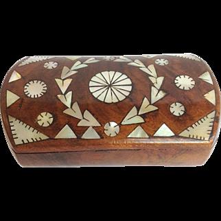 Walnut Box Mother Of Pearl Inlay Circa 1840