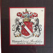 Howard Armorial Engraving Coat of Arms Earl of Berkshire Circa 1740