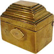 Antique Brass Snuff or Tobacco Box 19th c,