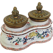 Chantilly Double Ink Stand French Porcelain 19thc.
