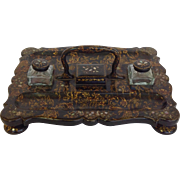 Victorian Papier-Mâché Inkstand by Henry Clay England Early 19th c.